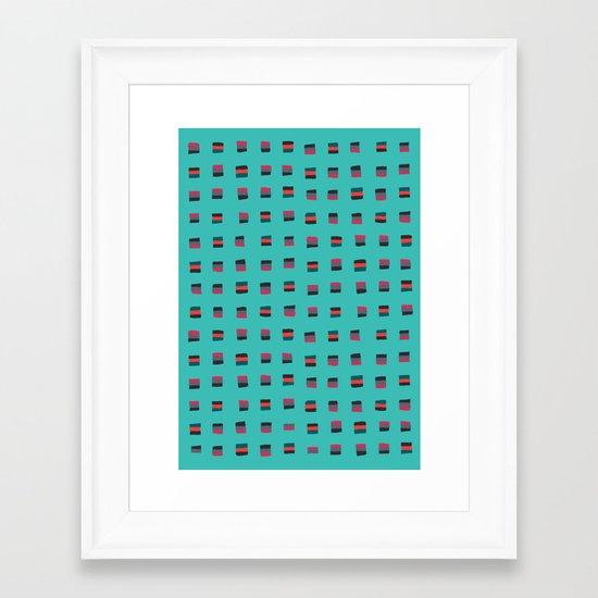 Pixel Pattern turquoise Framed Art Print