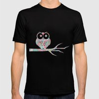 Owl on a branch Mens Fitted Tee Black SMALL