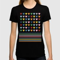 Hearts Stripes Womens Fitted Tee Black SMALL
