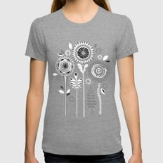 Folksy Flowerheads reverse Womens Fitted Tee Tri-Grey SMALL