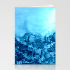 INTO ETERNITY, TURQUOISE Colorful Aqua Blue Watercolor Painting Abstract Art Floral Landscape Nature Stationery Cards