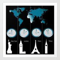TIME ZONES. NEW YORK, LONDON, PARIS, TOKYO Art Print