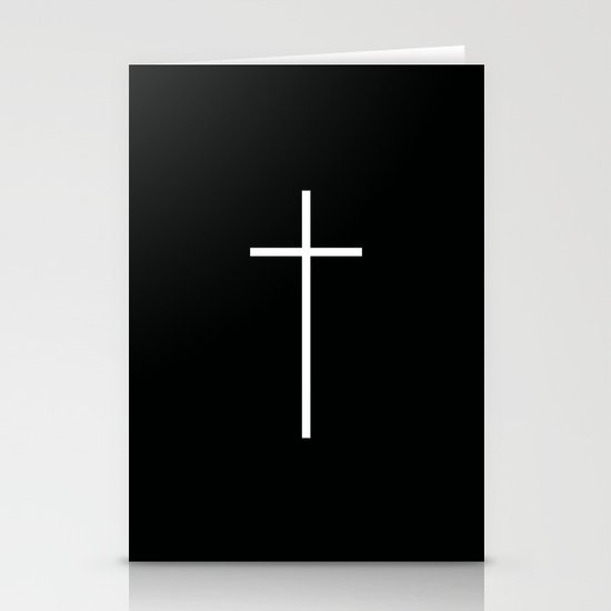 Christian Cross Black Stationery Card