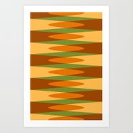 Retro Pattern Orange Gre… Art Print