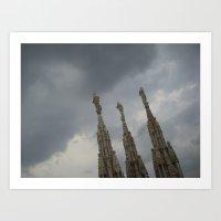 Three Statues on The Duomo Art Print
