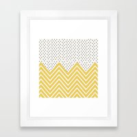 Chartreuse Chevron And D… Framed Art Print