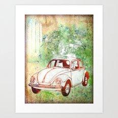 V-Dub: Nostalgic Volkswagen Beetle Print Art Print