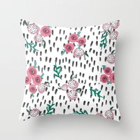 Rose. Illustration, Patt… Throw Pillow