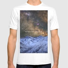Never stop exploring mountains, space..... SMALL White Mens Fitted Tee