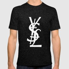 YSL Dollar Yen GBP Symbo… Mens Fitted Tee Tri-Black SMALL