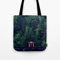Red in Woods Tote Bag