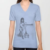 Now If Only I Could Play Guitar (sketch) Unisex V-Neck