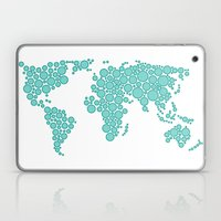 World Map - Polkadot Atlas (Cyan) Laptop & iPad Skin