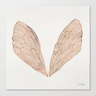 Cicada Wings In Rose Gol… Canvas Print