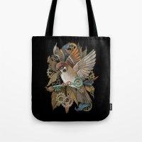 Clockwork Sparrow Tote Bag