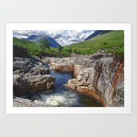 Glen Etive Waterfall Art Print