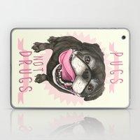 Black Pug dog - Pugs Not Drugs Laptop & iPad Skin