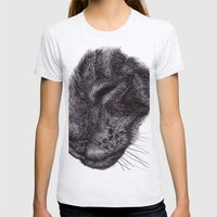 Cat illustration Womens Fitted Tee Ash Grey SMALL