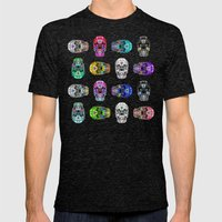 I love your Robotic Skull Heart on Grey Mens Fitted Tee Tri-Black SMALL