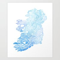 Typographic Ireland - Blue Watercolor Art Print