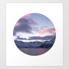 Telescope 8 ice mountain sunset Art Print