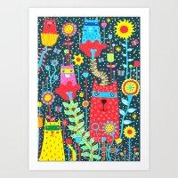 Cats & Flowers Art Print