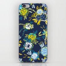 Flower Garden in Navy Neon iPhone & iPod Skin
