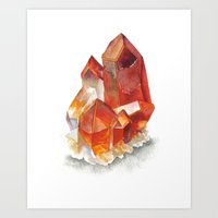Orange Quartz Cluster Art Print