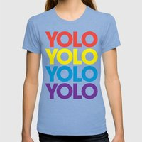 YOLO Womens Fitted Tee Tri-Blue SMALL