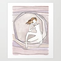She Lives On The Moon Art Print
