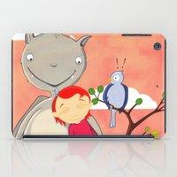 Friendly giant bat and girl digital illustration iPad Case