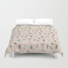 Children Playing-on Peach Duvet Cover