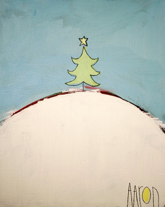 Christmas Tree on a Hill Art Print