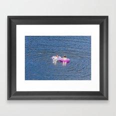 Girls on the lake Framed Art Print