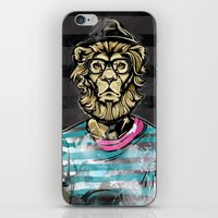 Hipster Lion on Black iPhone & iPod Skin