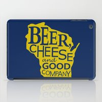 Blue and Gold Beer, Cheese and Good Company Wisconsin Graphic iPad Case