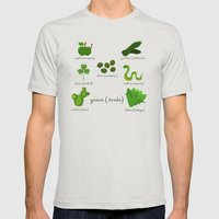 Colors: green (Los colores: verde) Mens Fitted Tee Silver SMALL