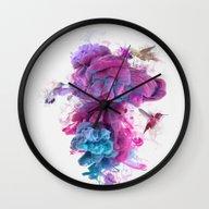 Hummingbirds Ink Wall Clock
