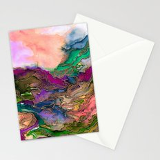 BRING ON BOHEMIA 1 Bold Rainbow Colorful Watercolor Abstract Metallic Accent Summer Peach Pink Green Stationery Cards