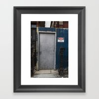 Untitled, Blue Wall Door Framed Art Print