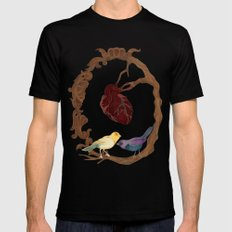 Two birds and a heart Black Mens Fitted Tee SMALL