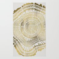 Rug featuring Gold Tree Rings by Cat Coquillette