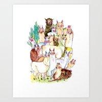 Wild family series - Llama Party Art Print