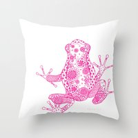 Little Frog Magenta Throw Pillow