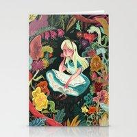 alice in wonderland Stationery Cards featuring Alice in Wonderland by Karl James Mountford
