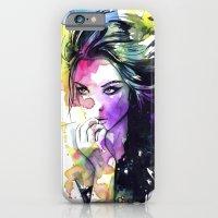 Milla fashion portrait girl watercolor tye and dye face iPhone 6 Slim Case