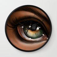Hazel Eye Illustration Wall Clock
