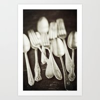 Antique Silverware  Art Print