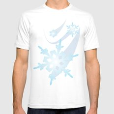 Winter Flakes White Mens Fitted Tee SMALL