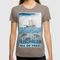 Sea Of Trees Womens Fitted Tee Tri-Coffee SMALL
